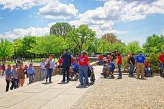 Weterani wojenni blisko Lincoln Pamiątkowego schody w washington dc Zdjęcia Stock