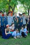 Weterani wojenni i ich rodziny poza dla fotografii Fotografia Stock