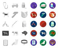 Weterynaryjna klinika mono, płaskie ikony w ustalonej kolekcji dla projekta Traktowanie zwierz? domowe symbolu zapasu sieci wekto royalty ilustracja
