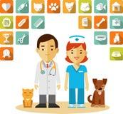 Weterynaryjna lekarka i ikony ustawiający Obraz Royalty Free