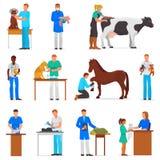 Weterynaryjni wektorowi weterynarz lekarki kobiety, mężczyzna częstowania zwierzęcia domowego pacjenci koty lub royalty ilustracja