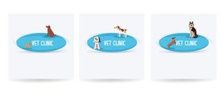 Weterynaryjny klinika sztandaru set, szczęśliwy pies, zdrowie zwierząt wektor Zdjęcie Stock