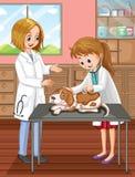 Weterynarz i pies przy kliniką ilustracja wektor