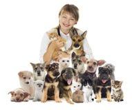 Weterynarz i set zwierzęta domowe Zdjęcie Royalty Free