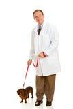 Weterynarz: Weterynarz z psem na smyczu Obrazy Royalty Free