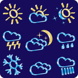 Wether 3d icon set (blue and gold). Blue and gold weather icon set Royalty Free Stock Photos