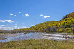 wetland and clouds in the autumn Stock Photos