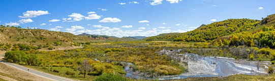 wetland and clouds in the autumn Royalty Free Stock Photography