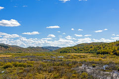 wetland and clouds in the autumn Stock Photography