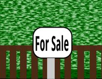 Wetland with a Fence for Sale. The illustration shows wetland behind a fence and it is for sale. In front of the fence is a sign with the words `For Sale royalty free illustration
