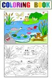 Wetland landscape with animals color and coloring vector for adults. Wetland landscape with animals color and coloring book for adults vector illustration Stock Photos