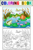 Wetland landscape with animals coloring vector for adults. Wetland landscape with animals coloring book for adults vector illustration. Anti-stress for adult Stock Photo