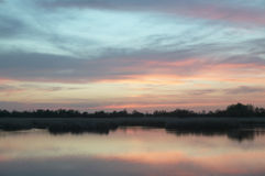 Wetland landscape. Sunset. Tablas de Daimiel. Ciudad Real. Spain Royalty Free Stock Photo