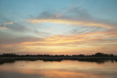 Wetland landscape in warm tone at sunset. Spain Stock Image