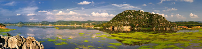 Wetland panorama. This is a piece of eastern Yunnan, China wetland panorama royalty free stock photos