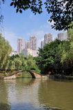 Wetland Park and Modern City Buildings Stock Image