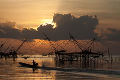 Fisherman in the lake of Thailand.  Stock Image
