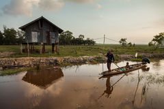 Fisherman in the lake of Thailand.  Royalty Free Stock Photo