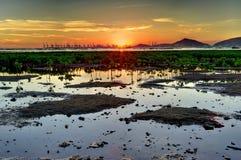 Wetland Sunset. Sunset on the wetland in Hong Kong stock photos