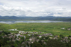 Wetlands adjacent to the rural. In rural areas of Southwest China,Where ethnic minorities live Stock Images