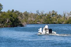 Wetlands Boating. Motor boating in a protected wetlands refuge Stock Photo