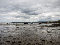Wetlands with boats at low tide near Maghery, Donegal Royalty Free Stock Image