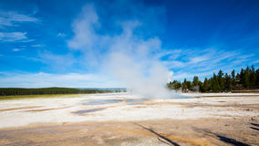Wetlands with geothermal in yellowstone park. Under blue sky and white cloud royalty free stock photography
