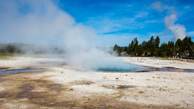 Wetlands with geothermal in yellowstone park. Under blue sky and white cloud stock photography