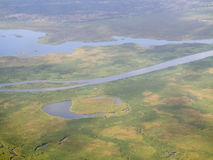 Wetlands of the nile, aerial view Stock Photos