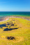 Wetlands on the south side of Oland, Sweden. Aerial view of wetlands along the ocean coast on the island of Oland, Sweden stock photography