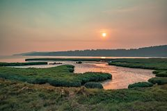 Wetlands at sunset along the northwwest sound stock image
