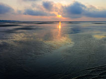 Wetlands sunset on north sea near Rotterdam, Netherlands Stock Images