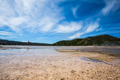 Wetlands in yellowstone park. Wetlands under blue sky and white cloud in yellowstone park stock photo