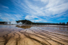 Wetlands in yellowstone park. Wetlands under blue sky and white cloud in yellowstone park stock photography