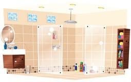 Wetroom con la ducha Ilustración del Vector