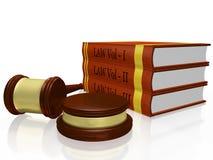 Wetsboeken en Rechter Gavel Mallet Stock Afbeeldingen
