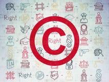 Wetsconcept: Copyright op Digitale Document achtergrond Royalty-vrije Stock Afbeelding