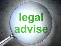Wetsconcept: Wettelijk adviseer met optisch glas Stock Fotografie