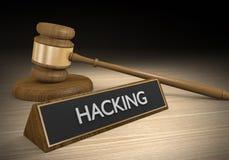 Wetshandhaving en wettelijke gevallen tegen het binnendringen in een beveiligd computersysteem en cyber misdaad, het 3D teruggeve Royalty-vrije Stock Foto