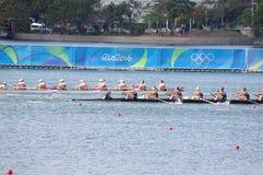 Wettbewerb Coxed acht an den Olympics Rio2016 Lizenzfreies Stockbild