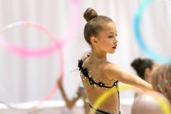 Wettbewerb der rhythmischen Gymnastik lizenzfreies stockbild