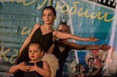 Wettbewerb des choreographischen Kollektivtanzes des Lebens in der Stadt von Kondrovo der Kaluga-Region in Russland im Jahre 2016 Stockfoto