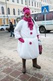 Wettbewerb des neuen Jahres von Schneemännern Lizenzfreies Stockfoto