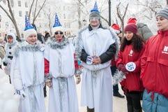 Wettbewerb des neuen Jahres von Schneemännern Lizenzfreie Stockbilder