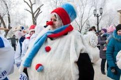 Wettbewerb des neuen Jahres von Schneemännern Stockbilder