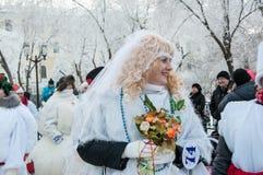 Wettbewerb des neuen Jahres von Schneemännern Lizenzfreie Stockfotografie