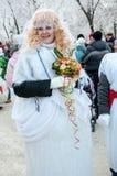 Wettbewerb des neuen Jahres von Schneemännern Lizenzfreie Stockfotos