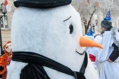 Wettbewerb des neuen Jahres von Schneemännern Stockfoto