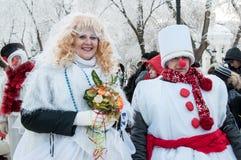 Wettbewerb des neuen Jahres von Schneemännern Stockbild