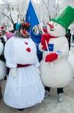 Wettbewerb des neuen Jahres von Schneemännern Stockfotos